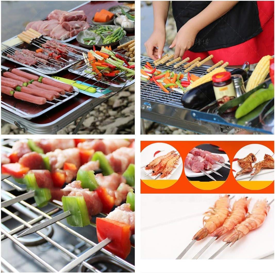 InBlossoms 5 Pcs Brochettes de Barbecue en Acier Inoxydable avec Manche en Bois 45cm-Facile à Nettoyer Réutilisable Argent