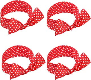 Amcami Red Wire Headband Classic Polka Dot Chiffon Headtie Fashion for Women and Girls (4 Pack)