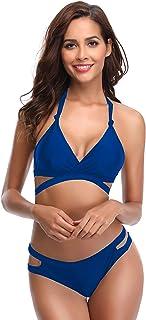 Bikini Triangular para Mujer con Traje de baño de Dos Piezas Halter Neck Swimsuits