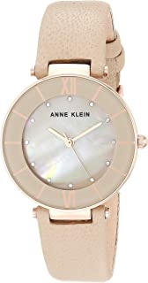 Anne Klein Women's AK/3272 Swarovski Crystal Accented Leather Strap Watch
