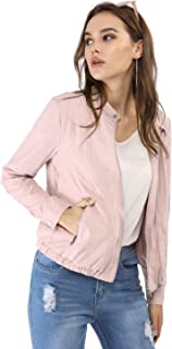 Women's Lightweight Classic Casual Stand Collar Pocket Short Biker Moto Jacket
