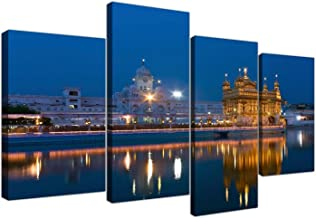 Large Sikh Canvas Wall Art Pictures of The Golden Temple at Amritsar - Set of 4 - Multi Panel Artwork - Modern Split Canva...