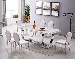Table de salle à manger de luxe en acier inoxydable imitation marbre 160 x 90 cm