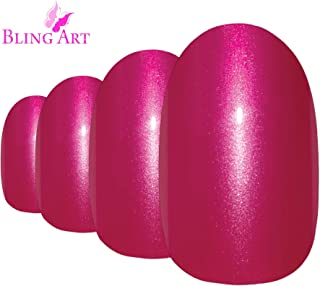 Bling Art Oval False Nails Glitter Blue French Manicure Fake Medium Tips with Glue