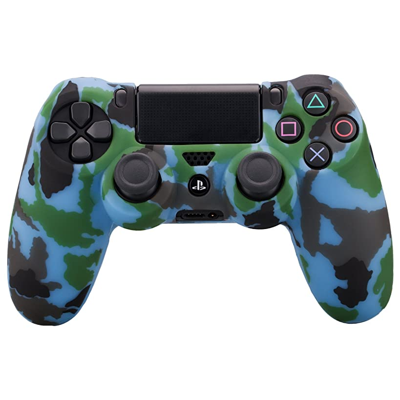 MXRC Silicone rubber cover skin case anti-slip Water Transfer Customize Camouflage for PS4/SLIM/PRO controller x 1(light blue)