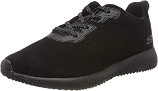 BOBS Women's Squad-Team Bobs. Lace Up Embossed Microfiber Suede W Memory Foam. Sneaker