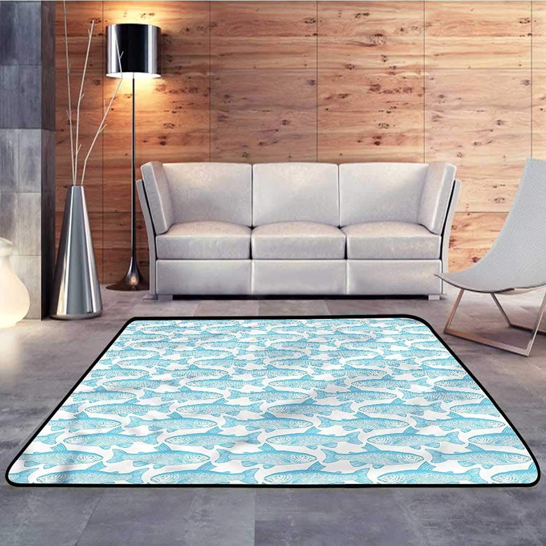 Kids rugsFish,Arctic Char Sketch ArtW 35  x L59 Slip-Resistant Washable Entrance Doormat