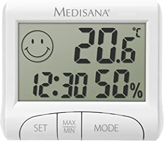 medisana HG 100, digitale hygrometer voor binnengebruik, thermometer met vochtigheid, kamertemperatuur, tijd, weergave van...