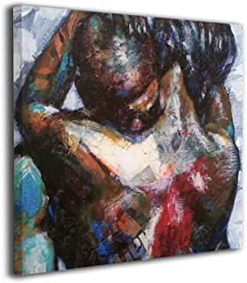 Fu Qi Rui Shang Mao Canvas Wall Art Prints African American Couple Picture Paintings Contemporary Home Decoration Giclee Artwork Wood Frame Gallery Stretched 20