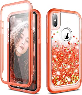 SURITCH Case for iPhone X/iPhone Xs, [Built-in Screen Protector] Quicksand Bling Liquid Glitter Full-Body Protection Rugged Bumper Shockproof Cover for iPhone X/iPhone Xs 5.8 Inch(Coral Orange)