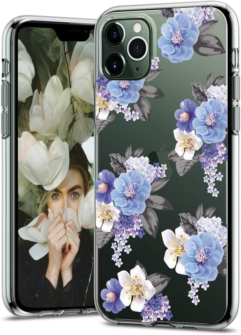 EMZHOLE Case for iPhone 11 Pro Max Case 6.5 inches Floral Pattern Clear Design Transparent Hard Slim Case with TPU Bumper Protective Case Cover Compatible with iPhone 11 Pro Max 2019 - Blue Flower