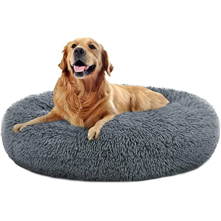 Round Donut Cat and Dog Cushion Bed, Pet Bed for Cats or Multiple Dogs, Anti-Slip & Water-Resistant Bottom, Super Soft Durable Fabric Pet Supplies, Machine Washable Luxury Cat & Dog Bed