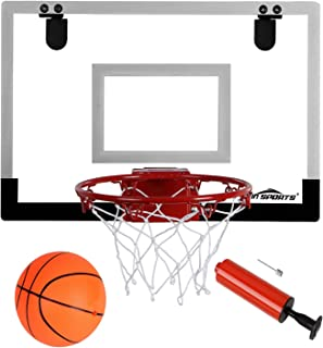 "Win SPORTS The Door/Wall Indoor Mini Basketball Hoop with Breakaway Steel Rim - Includes 5"" Mini basketballs and Hand Pump with Needle (18x12 inches)"