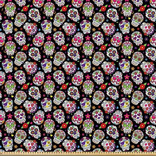 ABAKUHAUS Vistoso Tela por Metro, Flores de calaveras de azucar, Microfibra Decorativa para Artes y Manualidades, 1M (230x100cm), Multicolor