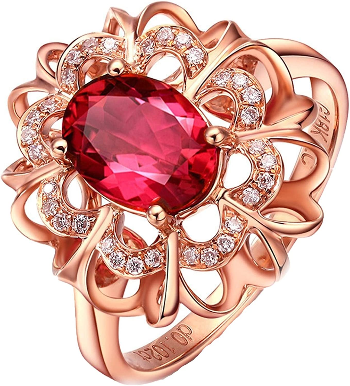 Epinki Women 18K Max 43% OFF Gold Ring Red Hollow T ct famous Oval Shape Flower 1.3