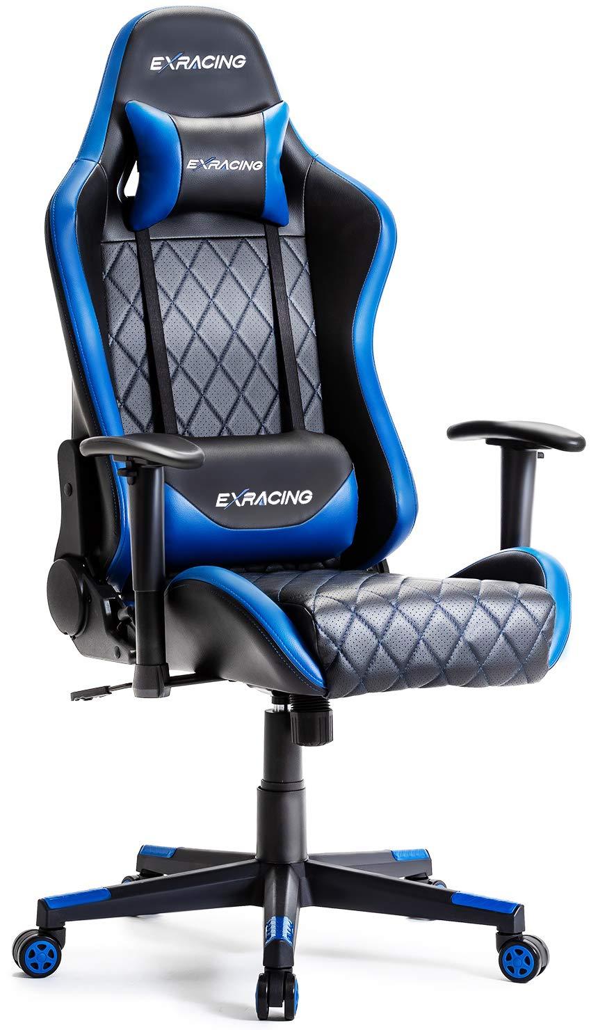 【 ゲーミングチェア ミーティングチェア 人間工学に基づいた3D設計 】 オフィスチェア デスクチェア 椅子 ゲーム用チェア イス パソコンチェア ハイバック [ 非再生高品質ウレタン採用 ] ヘッドレスト ランバーサポート PUレザー 一年無償部品交換保証 EXRACING [ 日本企画 ] (ブルー)