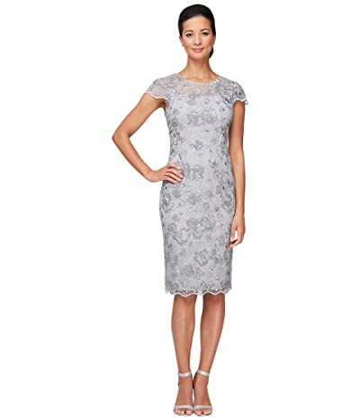 Alex Evenings Short Embroidered Sheath Dress with Illusion Neckline and Scallop Detail Women