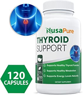 Premium Thyroid Support Supplement (Non-GMO) 120 caps for Hypothyroidism with Ashwaganda, Iodine, Zinc, kelp, Vitamin B12, L-Tyrosine, Selenium, Copper for Thyroid Energy: Boost T4 to T3 Supplement