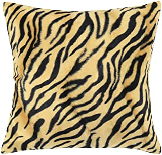 ChezMax Square/Rectangle Leopard Animal Printed Cushion Cover Short Plush Throw Pillow Case Sham Slipover Pillowslip Pillowcase for Bedding Bed Car Deck Chair