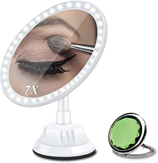 Magnifying Makeup Vanity Mirror with Light, 7X Magnification 2500mAh Rechargeable Lighted Mirror with 30 LEDs
