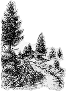 Path House Tree Background Clear Stamps for Card Making and Photo Album Decorations, Natural Scenery Transparent Rubber St...