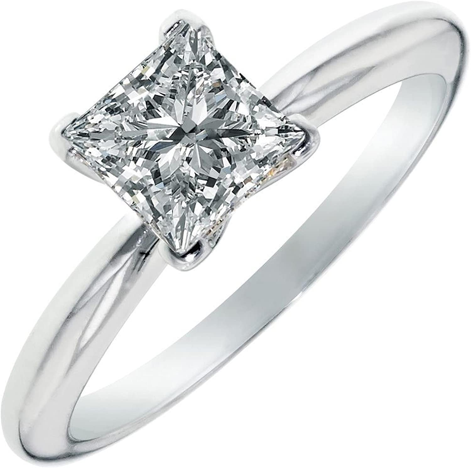 0.95ct Brilliant Princess Cut Solitaire Stunning Genuine Moissanite Ideal D 4-Prong Statement Ring in Solid 14k White Gold for Women