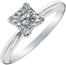 Clara Pucci 0.9 CT Princess Cut Solitaire Engagement Wedding Ring 14k White Gold
