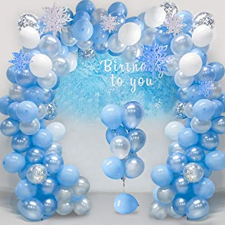Balloon Garland Arch Kit 16Ft Long Ice Snow Blue & White & Silver Latex Balloons Pack for Wedding Birthday Baby Shower Bac...