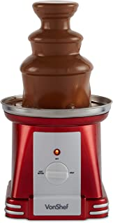 VonShef Retro Electric Chocolate Fountain Machine – 3 Tier Chocolate Fondue Maker with Quiet Motor for Dessert/Dipping for Parties, Weddings