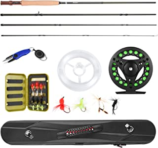 Magreel Fly Rod and Reel Combo with Portable Lightweight 4 Piece Fly Fishing Rod 9ft, AluminumFly Reel, 12Pcs Fly Flies and Fishing Line Scissors with a Travel Case