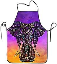 SPHGdiy Kitchen for Women Funny Apron Dress Men Cooking Apron Pinafore Elephant Tattoo Print Apron