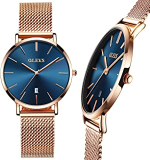 Rose Gold/Black Mesh Watch for Women,Thin Watch for Women,Ladies Steel Watch,Women's Watch,Fashion Watch for Women,Ladies Quartz Watch,Date Watch for Women,Lady Dress Watch,Women Waterproof Watch