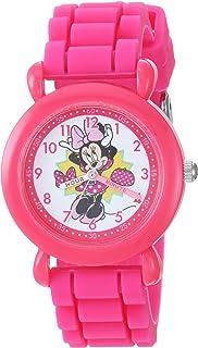 ساعة ديزني للبنات ميني ماوس انالوج كوارتز مع حزام سيليكون، زهري، 16 سم (WDS000742)