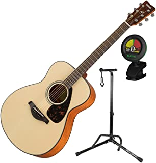 Yamaha FS800 Small Body Folk Sitka Spurce Solid Top 6 String Acoustic Guitar Package with Guitar Stand and Tuner for Guitar