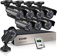 ZOSI 8CH 1080P Security Cameras System,8pcs 1080P Indoor Outdoor 1920TVL Weatherproof Surveillance Cameras, 8-Channel 1080P HD-TVI CCTV DVR System with 1TB Hard Drive for 24/7 Recording