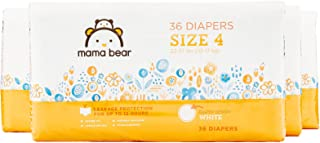 Amazon Brand - Mama Bear Diapers Size 4, 144 Count, White Print (4 packs of 36) [Packaging May Vary]