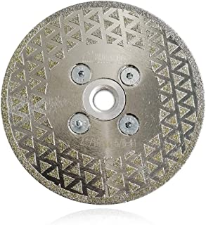 SHDIATOOL 4 Inch Electroplated Diamond Cutting Grinding Disc Fits 5/8-11 Arbor Single Coated Diamond Blade for Granite Mar...