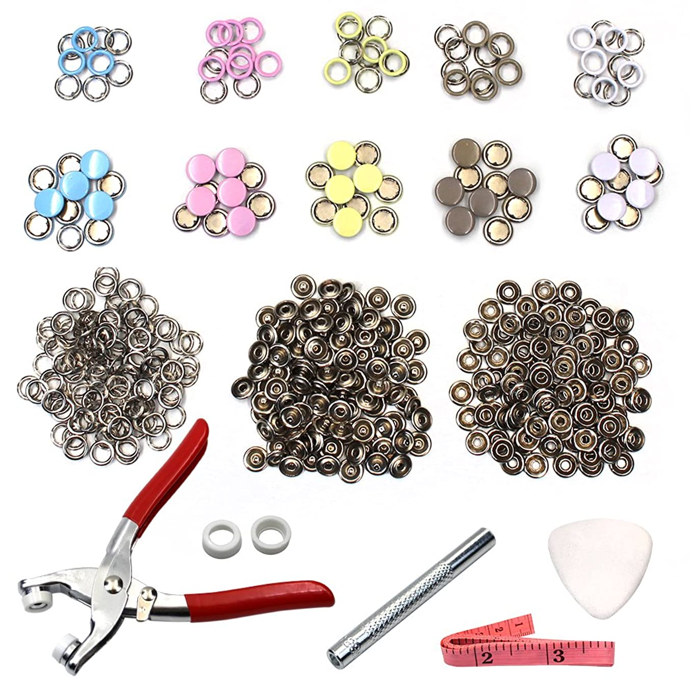 100PCS 9.5mm Prong Press Studs Open Ring No Sew Snaps Buttons Fasteners + Pliers+Tape Measure