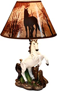 Ebros Gift White Rearing Wild Horse Stallion Desktop Table Lamp with Nature Printed Shade Home Decor 19