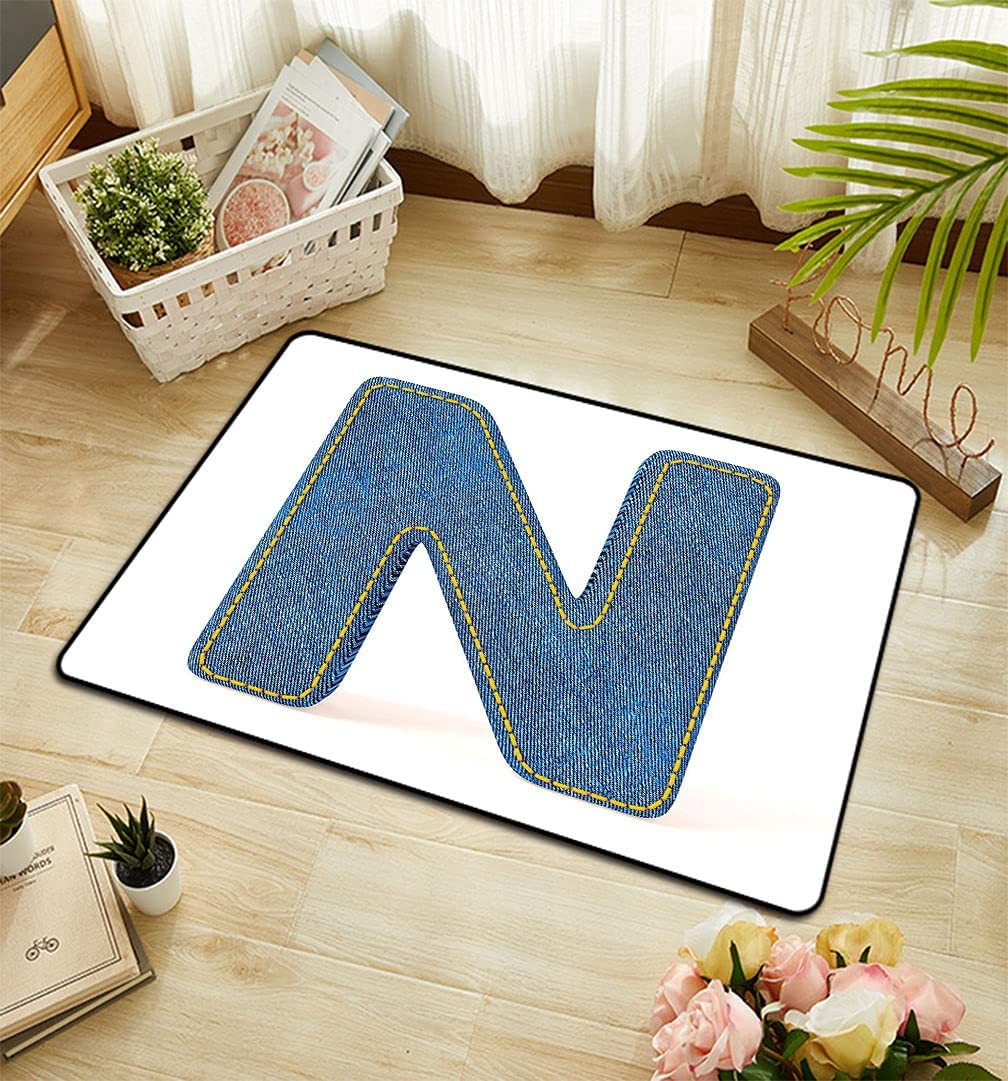 Letter N Floor Mats Uppercase Alphabet with Font Baltimore Mall Year-end gift Denim