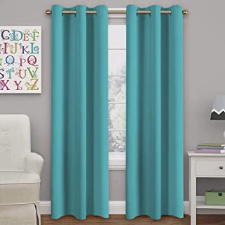Turquoize Aqua Blackout Curtains for Bedroom Energy Saving Window Treatment Panels for Living Room, 84 inch Long, 2 Panels Set