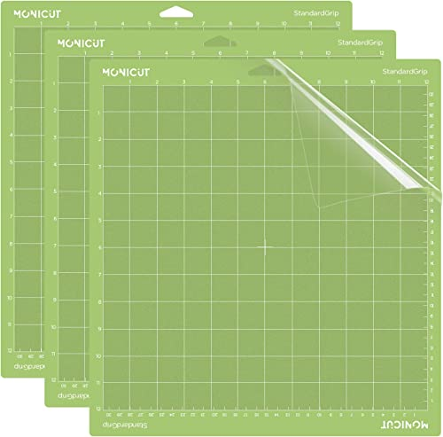 Monicut 12x12 Cutting Mat for Cricut Explore One/Air/Air 2/Maker(Standardgrip, 3 Pack) Cutting Mat with Adhesive Non-...