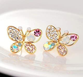 Sungpunet Fashion Multicolour Rhinestone Butterfly Retro Ear Studs Earrings 1 Pair