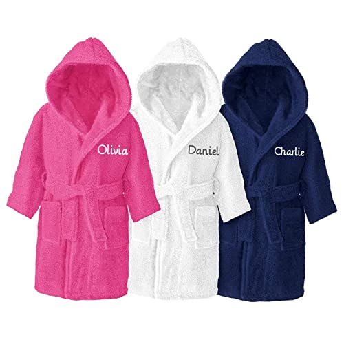 Harlequin Designs Personalised Childrens Girls Boys Kids Hooded Toweling Dressing Gown Bathrobe Hot Pink Ages 2 to 12