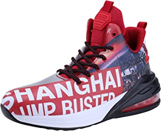 Mens Air Cushion Non Slip Running Shoes Fashion Basketball Shoes Sport Lace Up Casual Sneakers
