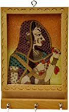 Little India Rajasthani Gemstone Painting Key Holder (Brown)