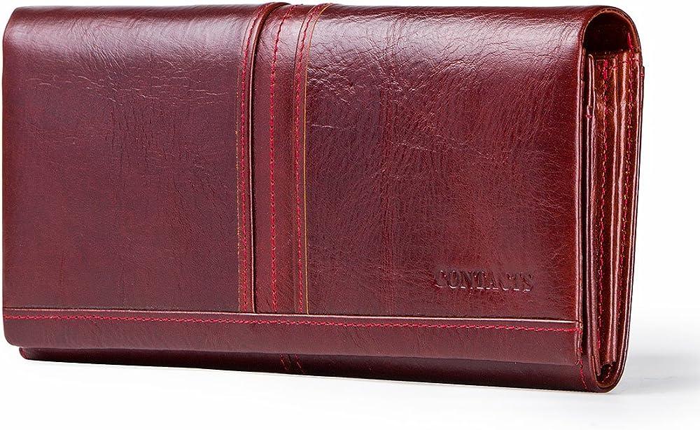 Contacts, porta carte di credito, portafoglio a tre ante da donna,  in vera pelle, rosso