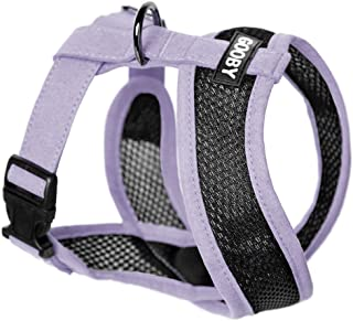 Gooby - Active X Head-In Harness, Choke Free Small Dog Harness with Synthetic Lambskin Soft Strap, Purple, Large, Large ch...
