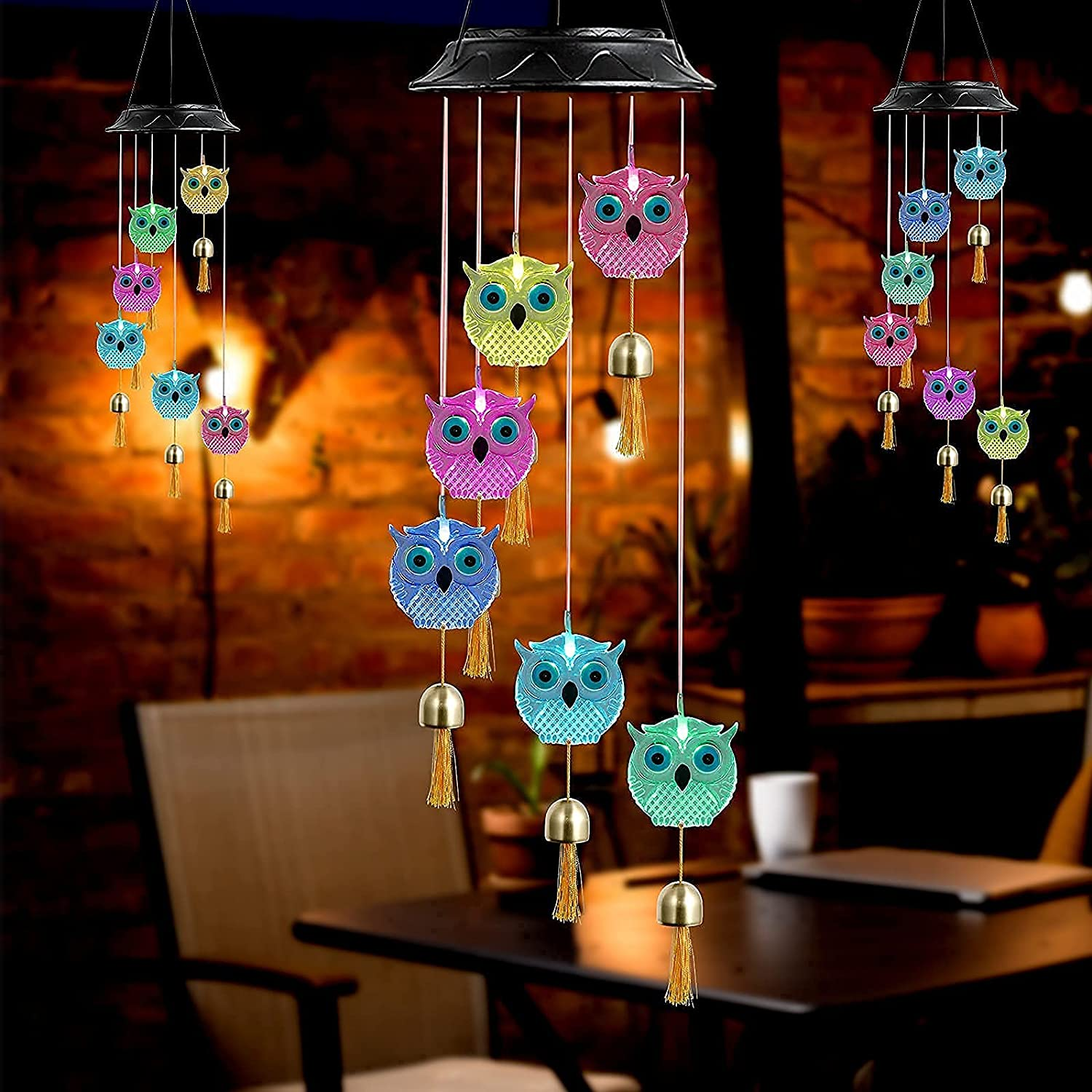 ALBAS ELFIN Creative Paintable DIY Owl Wind Chime, Waterproof Led Color Changing Solar Wind Chimes, Gift for Mother, Grandma and Neighbor, Used for Patio Decor, Home Decoration