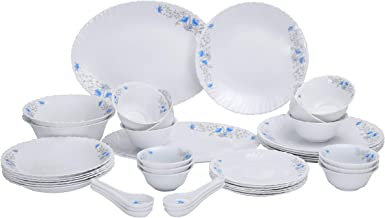 Royalford 40 pcs Opal Glassware Dinner Set, White, RF5035